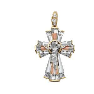 14K Tri Color CZ Religious Crucifix Pendant